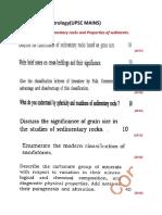 Geology last year papers upsc(Sedimentology)