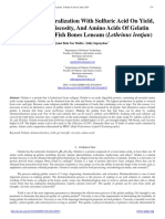 Effect of Demineralization With Sulfuric Acid on Yield, Gel Strenght, Viscosity, And Amino Acids of Gelatin Extracted From Fish Bones Lencam (Lethrinus Lentjan)