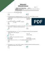 Differential Calculus Test