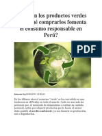 Qué Son Los Productos Verdes y Por Qué Comprarlos Fomenta El Consumo Responsable en Perú