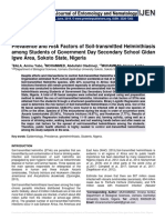 Prevalence and Risk Factors of Soil-transmitted Helminthiasis among Students of Government Day Secondary School Gidan Igwe Area, Sokoto State, Nigeria
