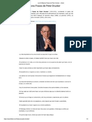 Las 53 Mejores Frases De Peter Drucker Lifeder