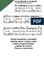 Dama Modesta y Recatada Partitura cantable PDF Gratis para Descargar Salchi Pensamientos Cantados