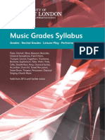 University of West London Music Grades Syllabus