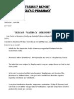 Community Pharmacy internship report
