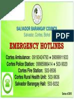 Hotline Numbers - Salvador, Cortes, Bohol