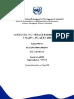 Coûts des facteurs de production à Madagascar en 2008
