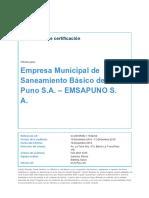 Auditoría Recertificación ISO 9001 EMSAPUNO