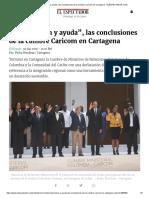 """""""Cooperación y Ayuda"""" - Las Conclusiones de La Cumbre Caricom en Cartagena"""