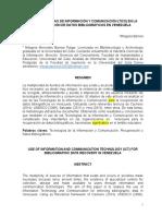 Las Tecnologías de Información y Comunicación (Tics) en La Recuperación de Datos Bibliográficos en Venezuela
