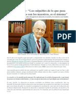 Alain Touraine. Los Culpables de Lo Que Pasa en Educación No Son Los Maestros, Es El Sistema