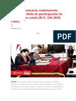 Integran Sentencia Condenatoria Señalando Título de Participación de Acusada Por Estafa