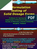 Pre Formulation Testing of Solid Dosage Forms