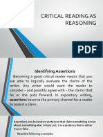 Lesson 8 Critical Reading as Reasoning