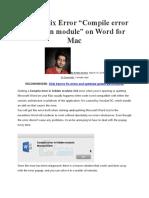 How to Fix Error Macbook Word Error