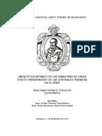 Impacto Economico de Las Emisiones de Gases Efecto Invernadero de Las Centrales Termicas en El Peru