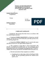 Estafa Complaint Affidavit Converted
