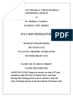 Nativity of the Holy Virgin Church - Newsletter - July, 2019