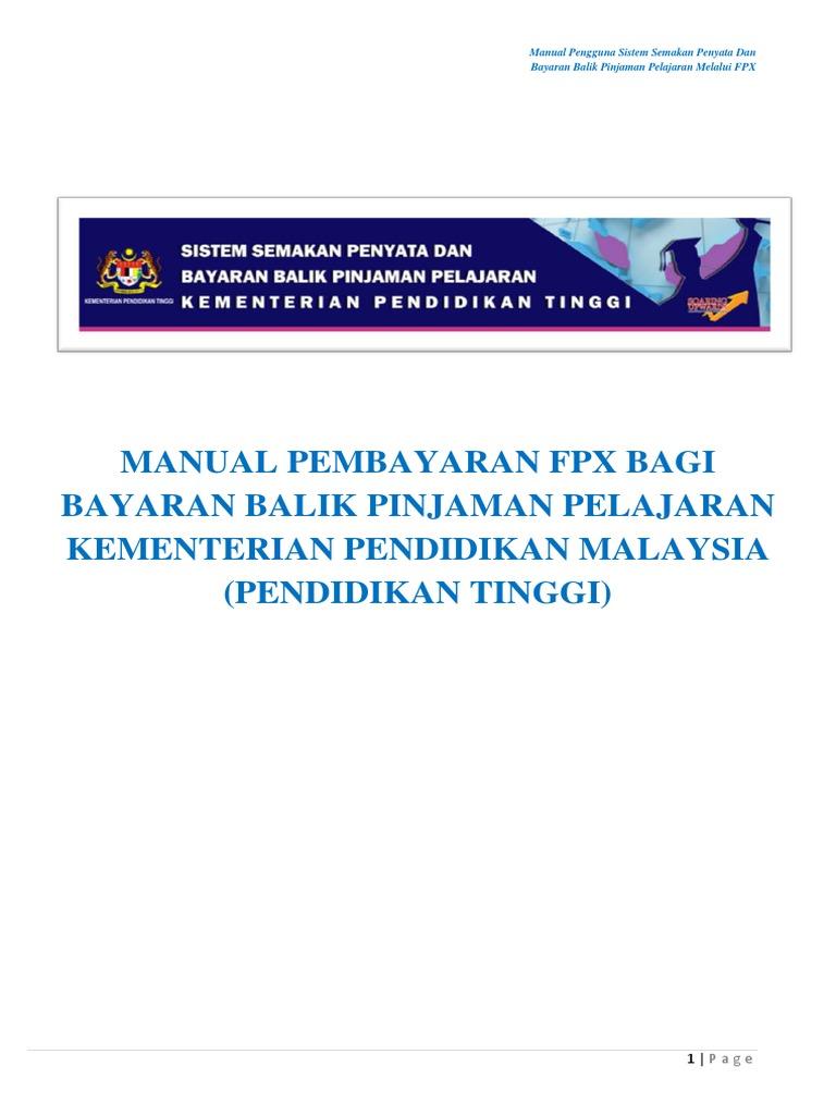 Manual Pembayaran Fpx Bagi Bayaran Balik Pinjaman Pelajaran Kementerian Pendidikan Malaysia Pendidikan Tinggi