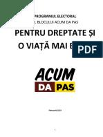 PROGRAMUL ELECTORAL AL BLOCULUI ACUM DA PAS