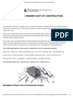 Estimate Bid Price-tender Cost of Construction Project