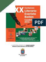 "XX Certamen Literario ""Evaristo Bañón""  Caudete 2016"