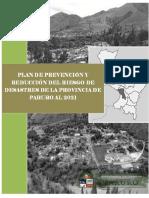 Plan de Prevención y Reducción Del Riesgo de Desastres de La Provincia de Paruro al 2021