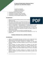 Admision de Medios Probatorios Ofrecidos Por El Representante Del Ministerio Público