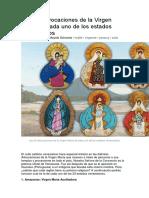 Las 23 Advocaciones de La Virgen María de Cada Uno de Los Estados Venezolanos