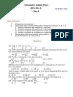 Cbse Class 8 Mathematics Sample Paper 22