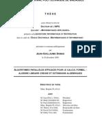 Dumas J.-g. - Algorithmes Paralleles Pour Le Calcul Formel_ Algebre Lineaire Creuse Et Extensions Algebriques (2000)