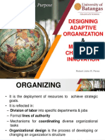 Designing Adaptive Organization and Managing Change and Innovation