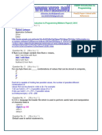 Introduction to Programming - CS201 2010 Mid Term Paper