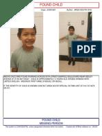 02 Jul 19-FOUND CHILD- 4 Year Old Male