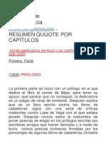 Resumen Quijote Por Capítulos - Material Didáctico de Marga Gracia