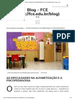 As Dificuldades Na Alfabetização e a Psicopedagogia – Blog – Fce
