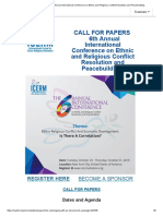 CALL for PAPERS 2019 Annual International Conference on Ethnic and Religious Conflict Resolution and Peacebuilding
