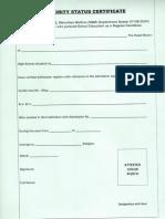 Format Minority Status Certificate
