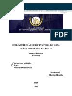 Sublimare Și Arhetip În Opera de Artă