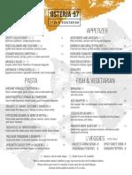 Osteria 57 menu, Summer 2019