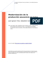 Juan Ignacio Tollo, Sebastian Carlos (..) (2007). Modernizacion de La Produccion Azucarera en Jujuy
