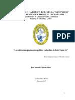ROJAS ALBA, José Antonio (2017). La Crisis Como Producción Política en La Obra de Luis Tapia M. (06!01!2017)