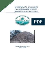 Plan de Implementación de La Planta Piloto de Compostaje 2018 Mdmm
