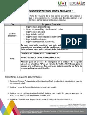 Proceso De Inscripción 2019 1