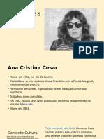 A Teus Pés- Ana Cristina Cesar.  apresentação