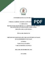 Métodos de Enseñanza Del Área de Estudios Sociales en El Rendimiento Escolar (1)