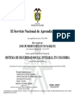 Certificado de Seguridad en El Trabajo.