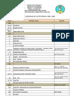 Spnhs. Calendar of Activities. 2019 -2020