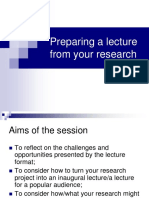 Preparing a Lecture From Your Research
