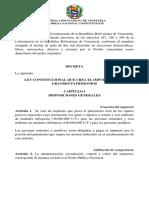 Ley Constitucional Grandes Patrimonios de la Constituyente cubana
